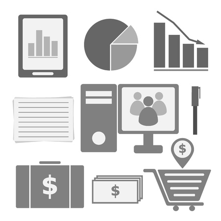investor: Set of internet investor at home icons, stock vector Illustration
