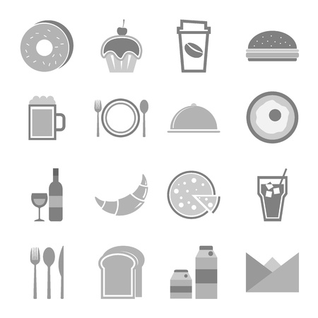 continental food: Food icons set on white background, stock vector Illustration