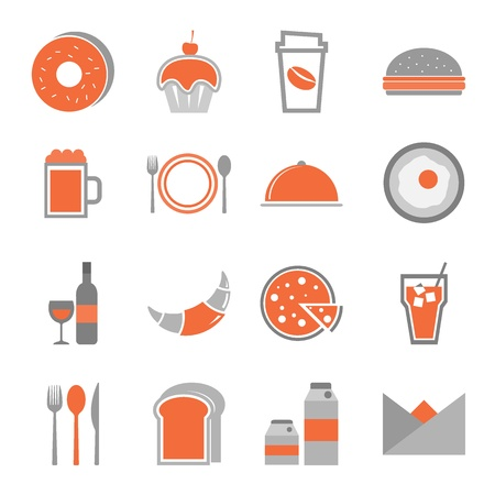 continental food: Food orange icons set on white background, stock vector