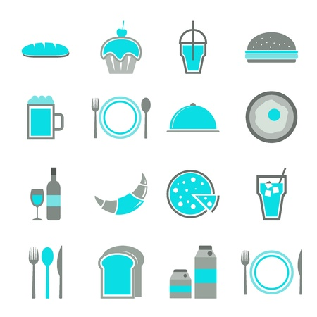 continental food: Food blue icons set on white background, stock vector Illustration
