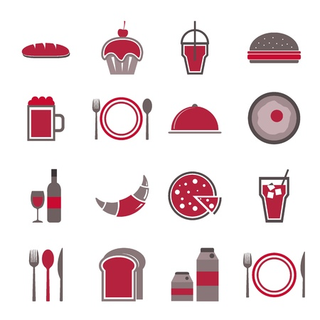 continental food: Food red icons set on white background, stock vector