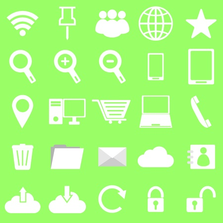 Internet icons on green background, stock vector Stock Vector - 22174207