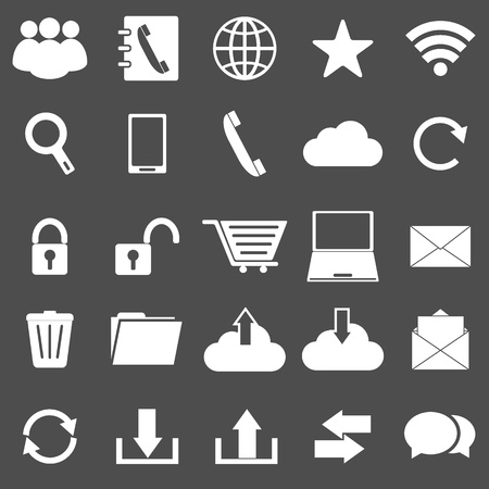 communication icons: Communication icons on gray background, stock vector Illustration