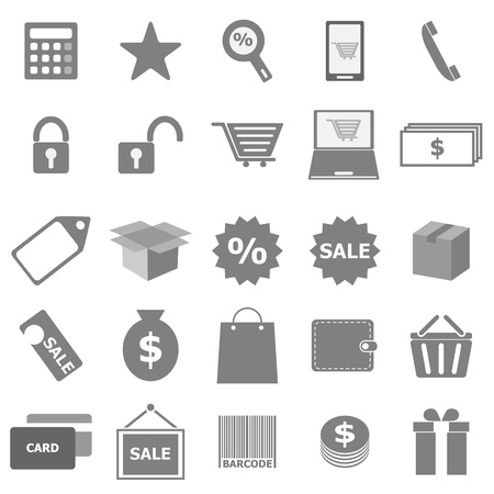 Shopping icons on white background, stock vector Illustration