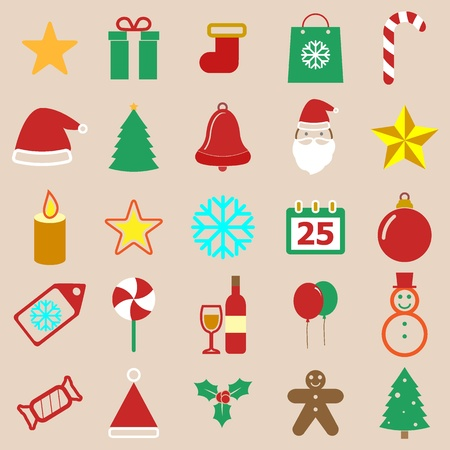 Christmas color icons on brown background, stock vector Vector