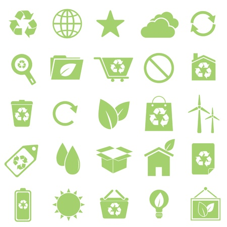 Ecology icons on white background, stock vector Vector
