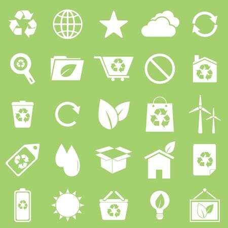 Ecology icons on green background, stock vector Vector