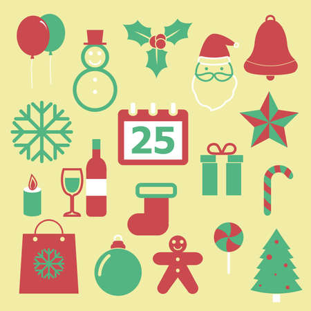 Set of Christmas icons on yellow background Vector