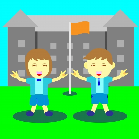 Concept of boy and girl happy time at school Vector