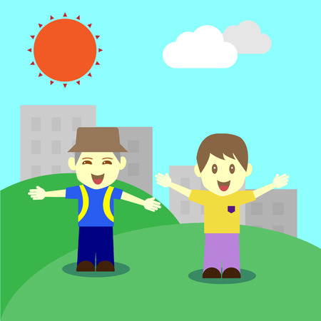 Happy children in fine day Vector