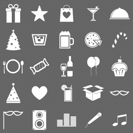 Party icons on gray background Vector