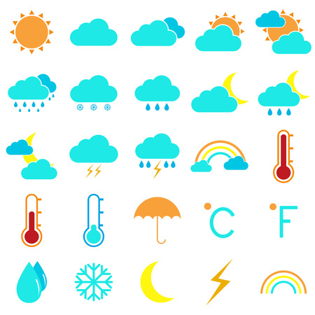 Weather and climate color icons on white background Vector