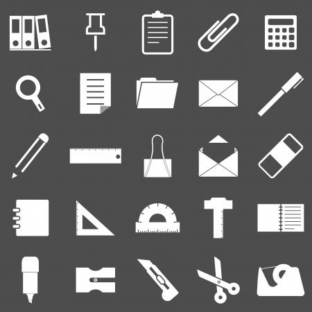 Stationary icons on gray background Illustration