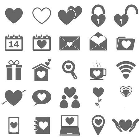 Love icons on white background Illustration