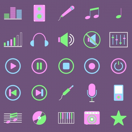 Music color icons on violet background Vector