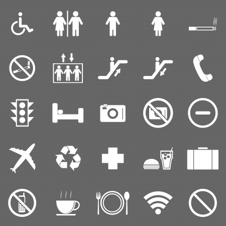 public toilet: Plublic icons on gray background Illustration