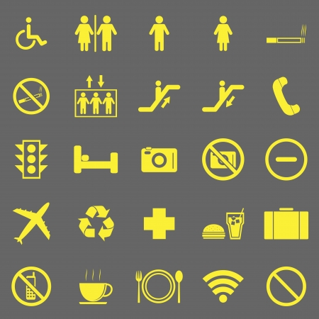 Plublic yellow icons on gray background Stock Vector - 22508884