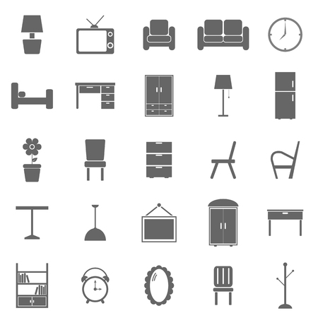 bedroom furniture: Furniture icons on white background