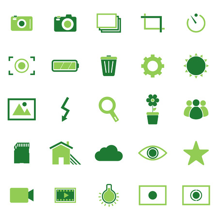 evaluative: Photography color icons on white background Illustration
