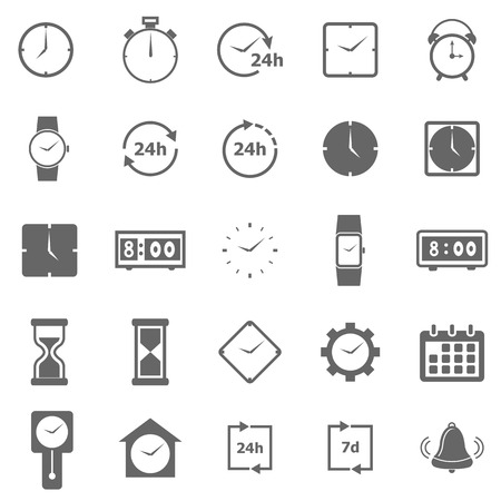 Time icons on white background, stock vector