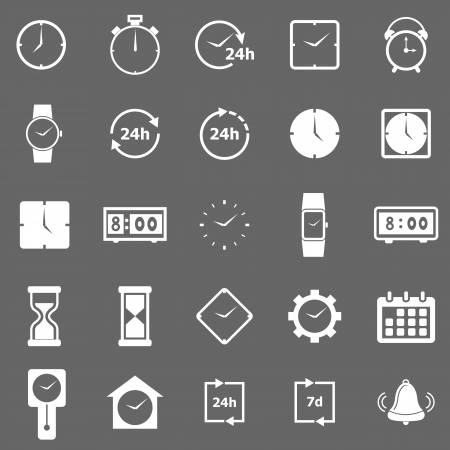 digital clock: Time icons on gray background, stock vector Illustration