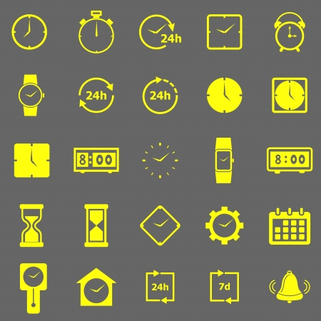 Time color icons on gray background, stock vector Vector