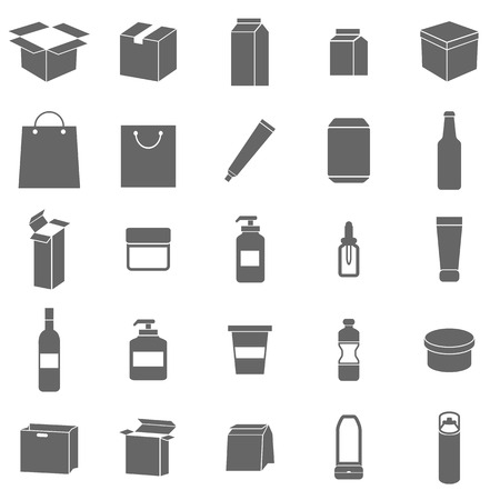 packaging design: Packaging icons on white background, stock vector