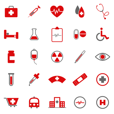 Medical color icons on white background, stock vector Vector