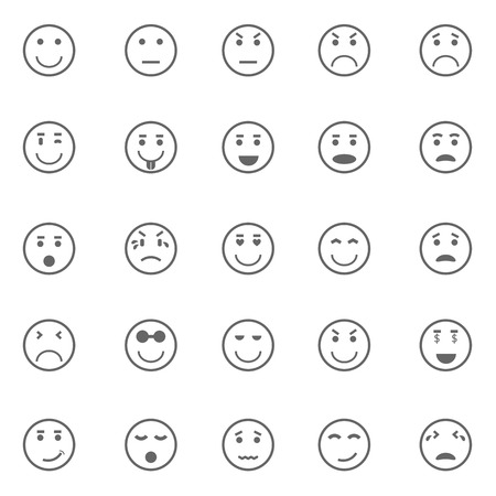 Circle face icons on white background, stock vector