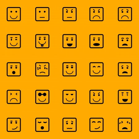 Square face icons on orange background, stock vector Vector