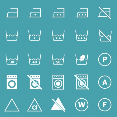 Laundry icons on blue background, stock vector Vector