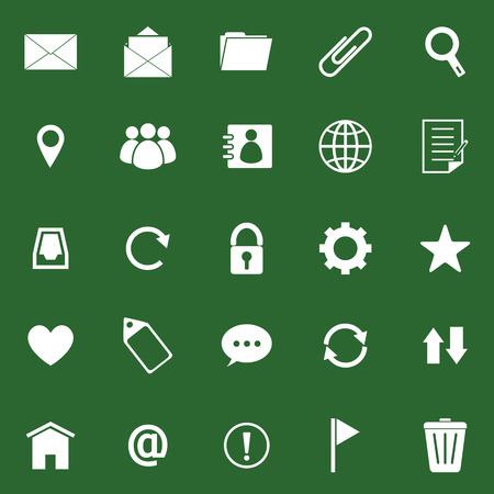 Mail icons on green background, stock vector Stock Vector - 22698660