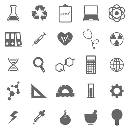 neutrons: Science icons on white background, stock vector