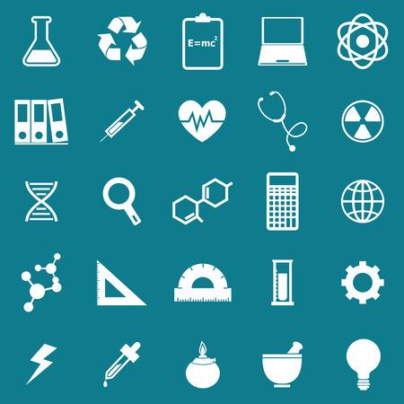 neutrons: Iconos de la ciencia en el fondo azul, stock vector Vectores