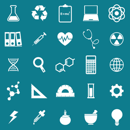 sciences: Science icons on blue background, stock vector Illustration