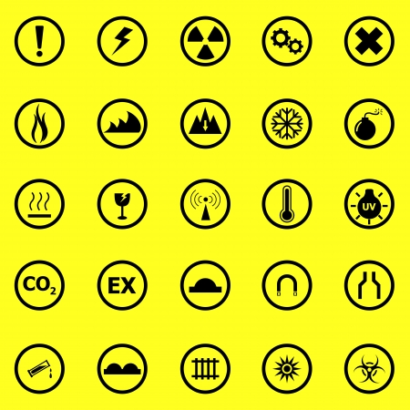 Warning sign icons on yellow background, stock vector Stock Vector - 22963419
