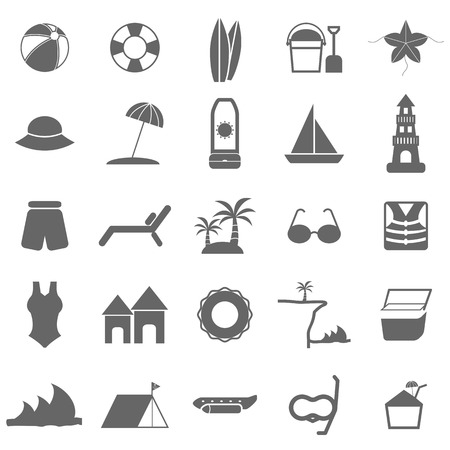 Beach icons on white background, stock vector Vector