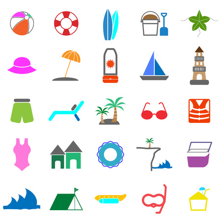 Beach color icons on white background, stock vector Vector