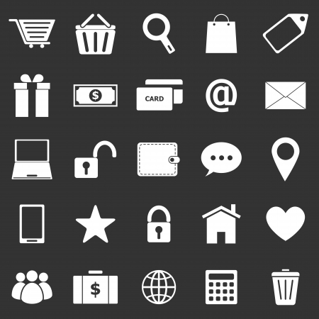 Ecommerce icons on black background, stock vector Vector
