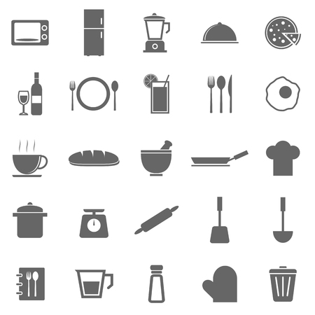 continental food: Kitchen icons on white background, stock vector
