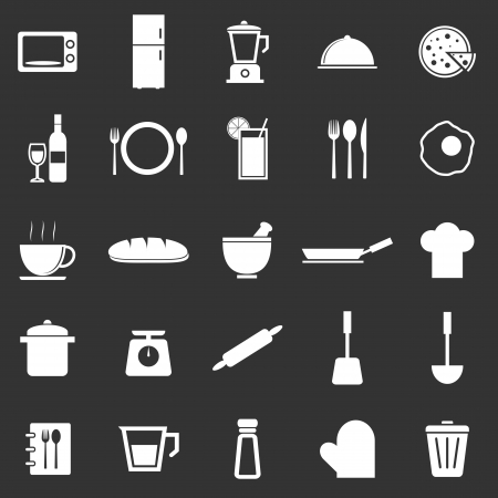 continental food: Kitchen icons on black background, stock vector