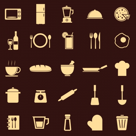 Kitchen color icons on dark background, stock vector Vector