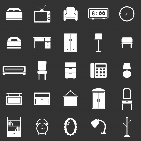 Bedroom icons on black background, stock vector