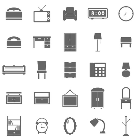Bedroom icons on white background, stock vector
