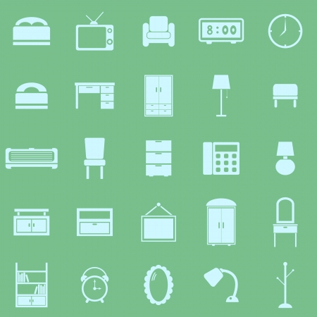 Bedroom color icons on green background, stock vector