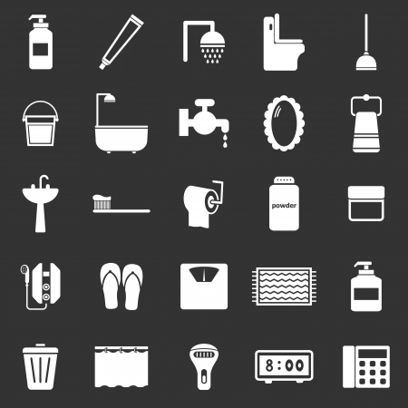 implements: Bathroom icons on black background, stock vector