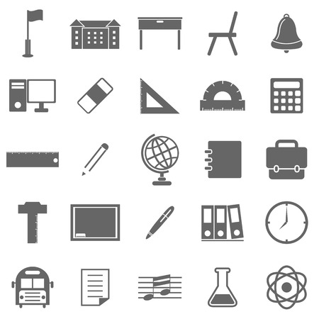 School icons on white background, stock vector Illustration
