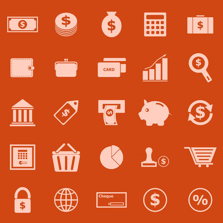 Money color icons on orange background, stock vector Vector