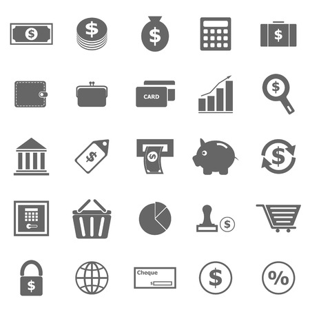 bank bill: Money icons on white background, stock vector