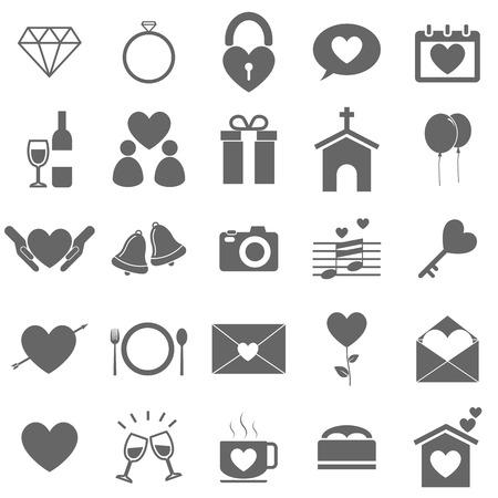 Iconos de la boda en el fondo blanco, stock vector